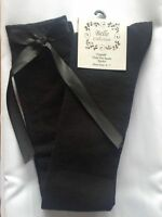 Ladies Girls Long Over The Knee BLACK Socks With BLACK Satin Bows