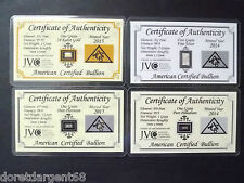 SUPER LOT DE 4 LINGOTS  OR/PLATINE/PALLADIUM/ARGENT PUR MASSIF CARTE CERTIFICAT