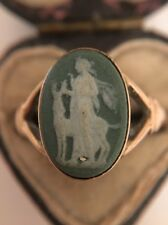 Antique Victorian Unusual Green Cameo Ring Pretty Ornate Yellow Gold