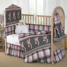 BROWNING BUCKMARK PINK & GRAY PLAID CRIB SET, BABY BEDDING 7 PCS INFANT TODDLER