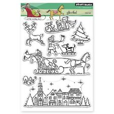 PENNY BLACK RUBBER STAMPS CLEAR GLEEFUL CHRISTMAS STAMP SET NEW 2015