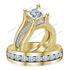 Awesome Bridal Engagement Ring Sets In 10K Gold Plated 4CT Diamond For His & Her