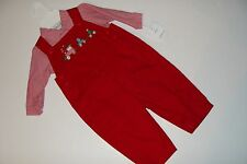 Petit Ami Outfit Boys Size 6 Months Red Overalls Choo Train Longalls NEW NWT