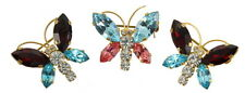 VINTAGE AUSTRIA SET OF 3 RHINESTONE BUTTERFLY BROOCH PINS RED BLUE PINK