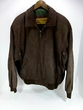 Men's Timberland Bomber Style Leather Jacket Brown Cowhide Sz XL