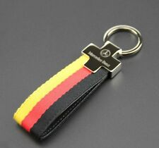 Mercedes Benz AMG Leather Strap Keyring Keychain Key Chain FOB holder metal case