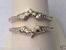 Solitaire Enhancer Round Diamond Ring Guard Wrap 14k Yellow Gold Wedding Vintage