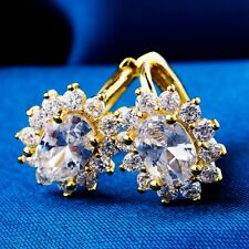 Elegant Gift 5 Colors Gold Filled Oval Cubic Zircon Ladies Hoop Earrings