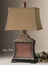 "33"" AGED RED WOVEN TEXTURE TABLE LAMP WITH SILVER BEADS AND GOLD ACCENTS"