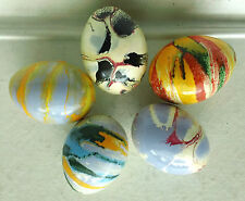 Five Blown Egg Shell Easter Eggs with Marbled Multi-Colored Finishes