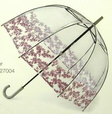 "FULTON BIRDCAGE-2 ""FLORET BORDER"" PRINT ON CLEAR BUBBLE DOME STICK UMBRELLA-NWT"