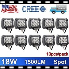 10X 4''IN 18W LED WORK LIGHT BAR CREE SPOT DRIVING JEEP TRUCK FORD OFFROAD PODS