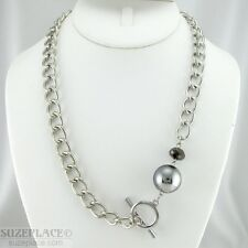 CHUNKY SILVER TONE CHAIN NECKLACE SIGNED JS CRYSTAL PENDANT TOGGLE CLASP
