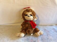 "Cute Soft Plush Stuffed Monkey in Santa Hat & Scarf Hobby Lobby Stores 11"" Brown"