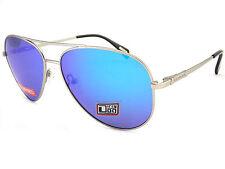 Dirty Dog MAVERICK Polarized Aviator Sunglasses Silver / Blue Mirror 53476