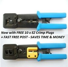 EZ RJ45 HD CRIMP TOOL & WIRE STRIPPER + 10 FREE CRIMP PLUGS + FREE SHIPPING