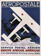 AEROPOSTALE, 1929 Vintage French Air Travel Advertising CANVAS PRINT 24x32 in.