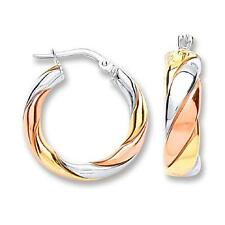 925 Sterling Silver/Rose/Yellow Gold Twist Round Hoops Earrings Gift Boxed 430