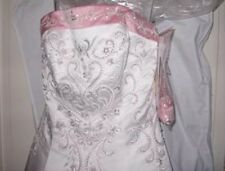 ALFRED ANGELO BRIDAL 1612 NEW 18 IVORY TEA ROSE PINK SATIN SLIMMING WEDDING GOWN