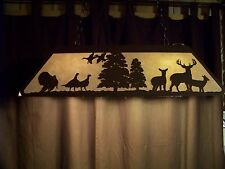 Laser cut Steel Whitetail Deer & Turkey Pool Table Light Lamp BLACK rustic cabin