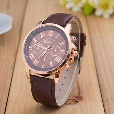 Geneva Women Stainless Steel Watch Roman Numerals Leather Quartz Wrist Watch B
