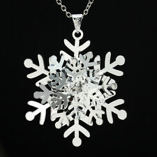 Women's Silver Crystal Snowflake Flower Pendant Necklace Christmas Gift New