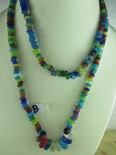 Selten: Alte Halskette aus Tibet, traumhafte Farben Glasperlen Perlen ~1970 68cm