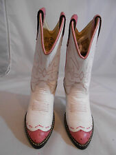 Old West 1119WT White with Pink Trim Slip On Cowboy Boots Childrens Size 12.5