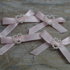 Satin Ribbon Bows with Heart 30mm Rosebuds CERISE PINK IVORY WHITE RED X  10
