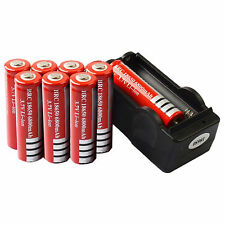 8x 3.7V 18650 Li-ion 6800mAh Red Rechargeable Battery + 18650 Charger