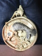 Fine Old Chinese Soapstone Plaque Depicting Fish Among Reeds Top With Dog of Fo
