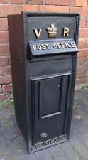 Replica Royal Mail VR Black Postbox Letter Box - Cast Iron - Lockable with Keys