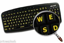 English UK LARGE LETTER Black Keyboard Stickers & Yellow Letters Laptop Computer