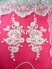 "Mirror Pair White Floral Venise Lace Embroidered Flower Appliques 9"" (BL81)"