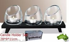 Glass TeaLight Candle Holder Set With Stand wedding Party Tea Light Black VIC