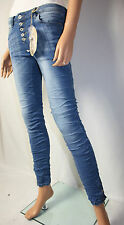 Blue Rags Pantaloni lunghi cavallo basso Jeans Pantaloni Bottoni STRETCH TG 40 used Denim Skinny Crush Nuovo