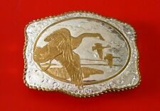 Crumrine Geese Heavy Silver Plate Belt Buckle