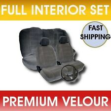 11pc Solid GRAY Velour Low Back Cloth Seat Covers Fabric Steering Wheel Set CS1
