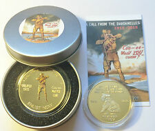 """NEW 2015 GALLIPOLI """"COO-EE"""" 1 Oz COIN AND COLLECTORS TIN. C.O.A. LTD 1,000 Gold"""