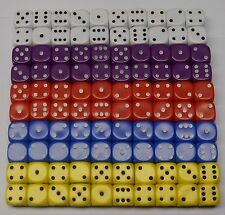 100 Six Sided Opaque Dice 5 Colours 10MM D6 Set 2 Firetop Mountain