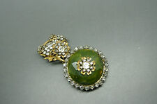 Vintage Miriam Haskell green art glass rhinestones beaded filigree brooch