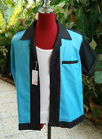 Men's  Rockabilly Vintage 1950's Style Black with turquoise Bowling Shirt