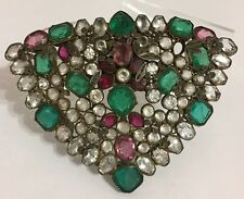 VINTAGE RARE HUGE RHINESTONE GLASS EARLY HOBE PURSE CLIP BROOCH - PIN