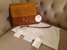 CHLOE MEDIUM FAYE SUEDE & LEATHER MICRO STUDS Shoulder bag, Clutch MUSTARD - NWT