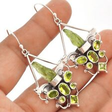 Moldavite & Peridot Angel Wings Silver Earrings  SE91043