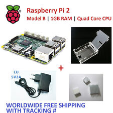 EU Power Supply RASPBERRY PI 2 - Model B 1GB RAM Quad Core + Case + Heatsinkx3