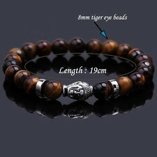 Tibetan Men Silver Plated Buddha Head Bracelet 8MM Tiger's Eye Beaded Bracelet