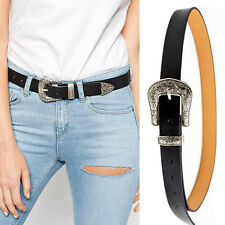 New Women Western Leather Belts Wide Single Metal Buckles Waistband Waist Belt L