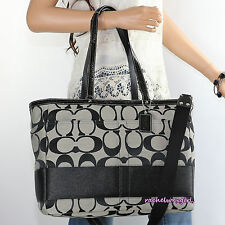 NWT Coach Signature Stripe Multifunction Diaper Baby Tote Bag F13803 Black White