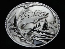 OE29143 *NOS* 2002 **TROUT FISH** FISHING COMMEMORATIVE PEWTER SISKIYOU BUCKLE